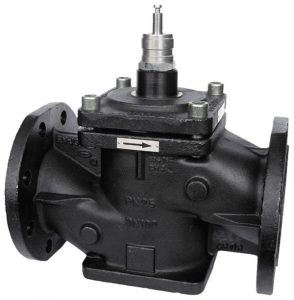 Pressure-relieved 2-way flanged valve, PN 25 (el.)
